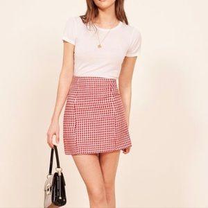 Reformation Amelie Linen Checkered Skirt Gingham